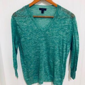 J. Crew seafoam green linen V neck sweater S